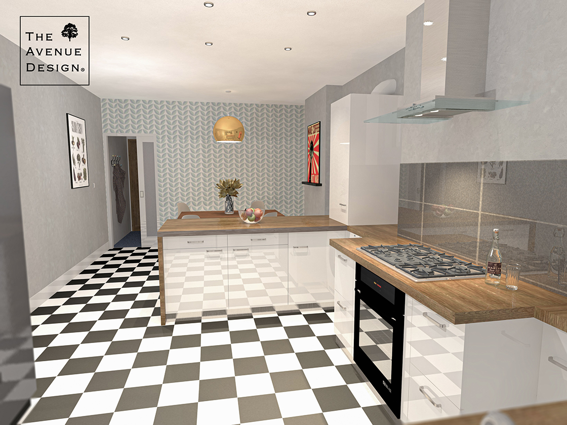 Open plan kitchen with a dinnig area
